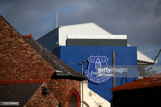 General view outside the stadium prior to the Premier League match between Everton FC and Crystal Palace at Goodison Park on February 08, 2020 in...