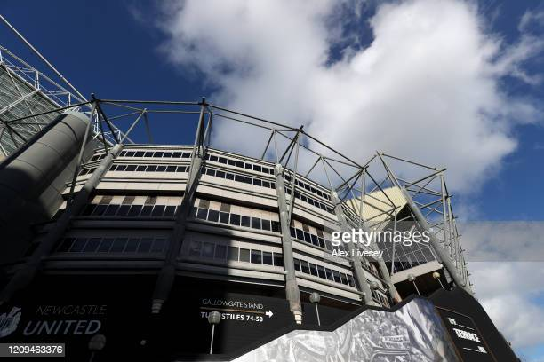 General view outside the stadium prior to the Premier League match between Newcastle United and Burnley FC at St. James Park on February 29, 2020 in...