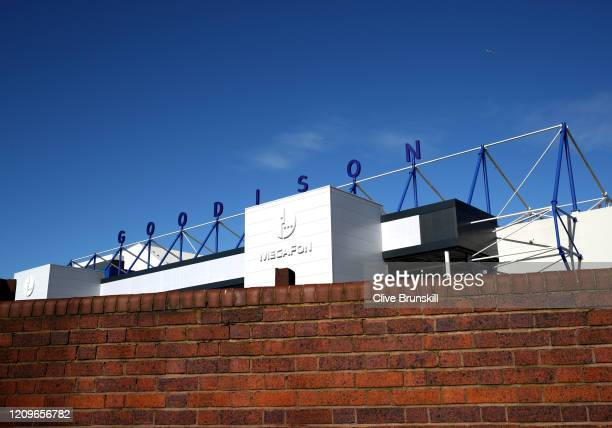 General view outside the stadium prior to the Premier League match between Everton FC and Manchester United at Goodison Park on March 01 2020 in...