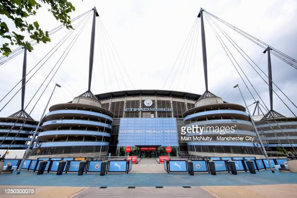 General view outside the stadium prior to the Premier League match between Manchester City and Arsenal FC at Etihad Stadium on June 17, 2020 in...