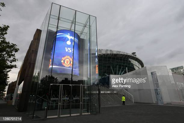 General view outside the stadium prior to the Premier League match between Tottenham Hotspur and Manchester United at Tottenham Hotspur Stadium on...
