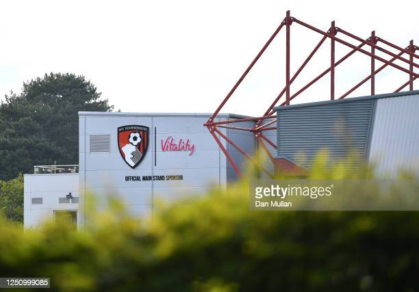 General view outside the stadium prior to the Premier League match between AFC Bournemouth and Crystal Palace at Vitality Stadium on June 20, 2020 in...