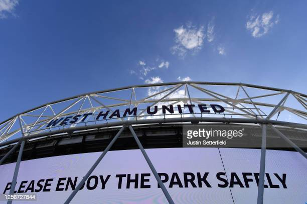 General view outside the stadium prior to the Premier League match between West Ham United and Watford FC at London Stadium on July 17, 2020 in...