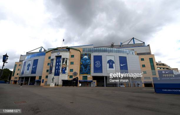 General view outside the stadium prior to the Premier League match between Chelsea FC and Wolverhampton Wanderers at Stamford Bridge on July 26, 2020...