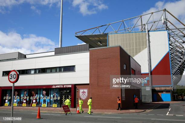 General view outside the stadium prior to the Premier League match between Burnley FC and Brighton & Hove Albion at Turf Moor on July 26, 2020 in...