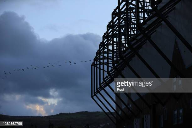 General view outside the stadium prior to the Premier League match between Burnley and Tottenham Hotspur at Turf Moor on October 26, 2020 in Burnley,...