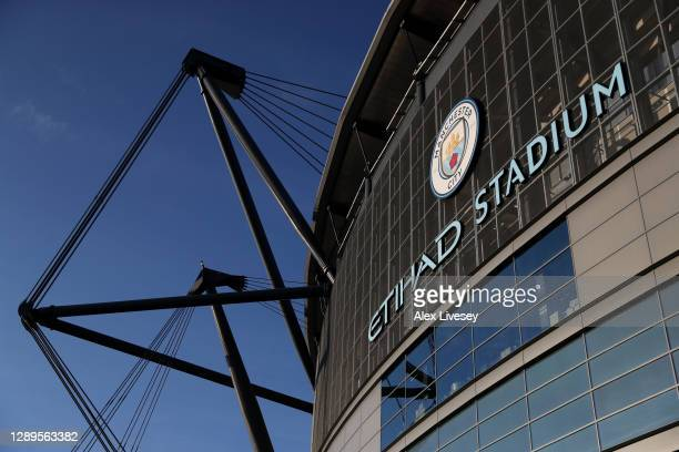 General view outside the stadium prior to the Premier League match between Manchester City and Fulham at Etihad Stadium on December 05, 2020 in...