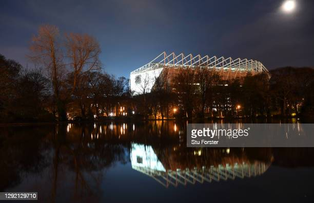 General view outside the stadium prior to the Premier League match between Newcastle United and Fulham at St. James Park on December 19, 2020 in...