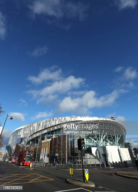 General view outside the stadium prior to the Premier League match between Tottenham Hotspur and Leicester City at Tottenham Hotspur Stadium on...