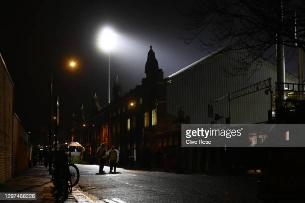 General view outside the stadium prior to the Premier League match between Fulham and Manchester United at Craven Cottage on January 20, 2021 in...