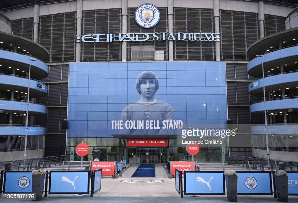 General view outside the stadium prior to the Premier League match between Manchester City and Manchester United at Etihad Stadium on March 07, 2021...