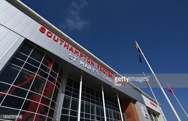 General view outside the stadium prior to the Premier League match between Southampton and Burnley at St Mary's Stadium on April 04, 2021 in...