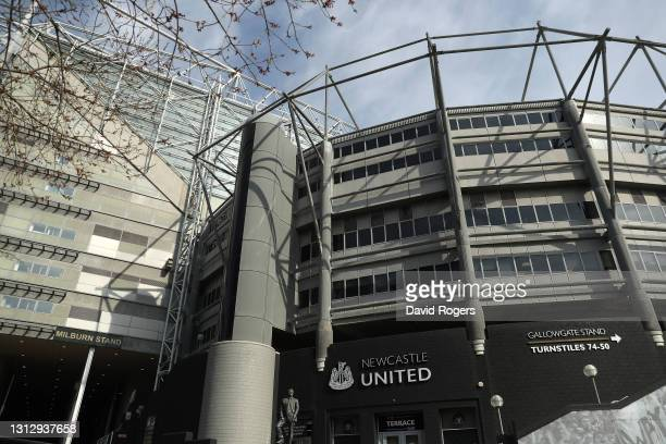 General view outside the stadium prior to the Premier League match between Newcastle United and West Ham United at St. James Park on April 17, 2021...