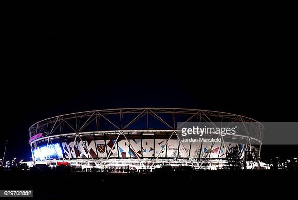 General view outside the stadium prior to the Premier League match between West Ham United and Burnley at London Stadium on December 14, 2016 in...