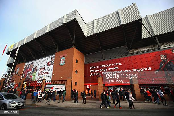 General view outside the stadium prior to the Premier League match between Liverpool and Swansea City at Anfield on January 21 2017 in Liverpool...