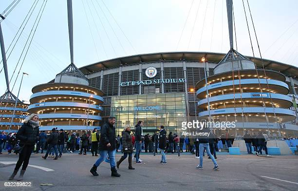 General view outside the stadium prior to the Premier League match between Manchester City and Tottenham Hotspur at the Etihad Stadium on January 21...