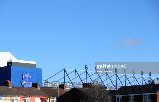 A general view outside the stadium prior to the Premier League match between Everton and AFC Bournemouth at Goodison Park on February 4 2017 in...