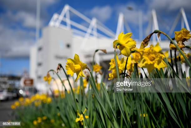 General view outside the stadium prior to the Premier League match between Swansea City and Middlesbrough at the Liberty Stadium on April 2 2017 in...