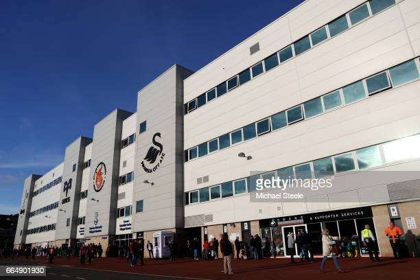 General view outside the stadium prior to the Premier League match between Swansea City and Tottenham Hotspur at the Liberty Stadium on April 5 2017...