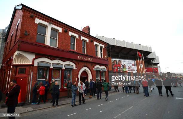 General view outside the stadium prior to the Premier League match between Liverpool and AFC Bournemouth at Anfield on April 5 2017 in Liverpool...