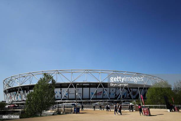 General view outside the stadium prior to the Premier League match between West Ham United and Swansea City at London Stadium on April 8, 2017 in...