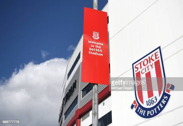 General view outside the stadium prior to the Premier League match between Stoke City and Hull City at Bet365 Stadium on April 15 2017 in Stoke on...
