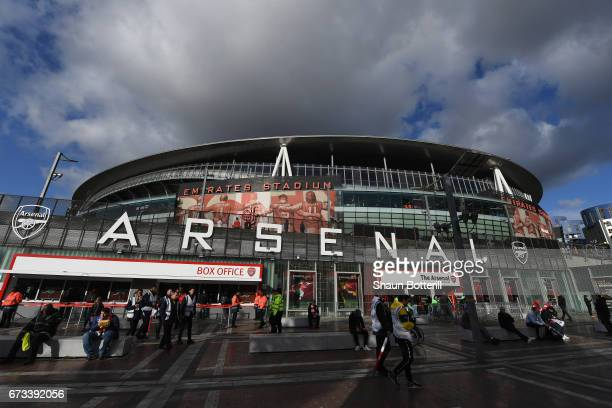 A general view outside the stadium prior to the Premier League match between Arsenal and Leicester City at the Emirates Stadium on April 26 2017 in...