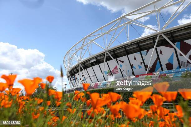 General view outside the stadium prior to the Premier League match between West Ham United and Liverpool at London Stadium on May 14 2017 in...