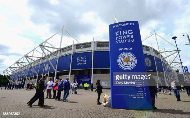 General view outside the stadium prior to the Premier League match between Leicester City and AFC Bournemouth at The King Power Stadium on May 21...