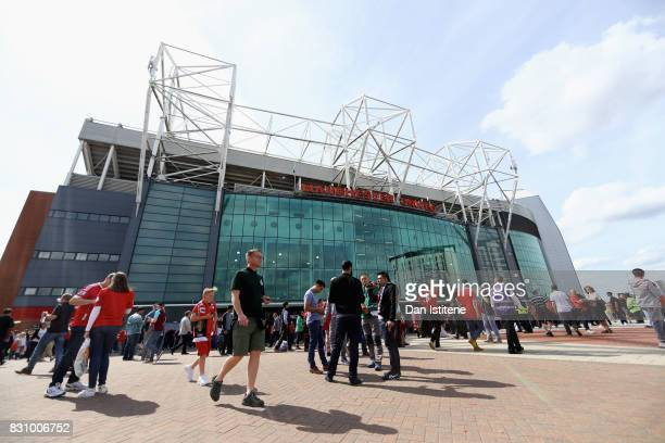 General view outside the stadium prior to the Premier League match between Manchester United and West Ham United at Old Trafford on August 13 2017 in...