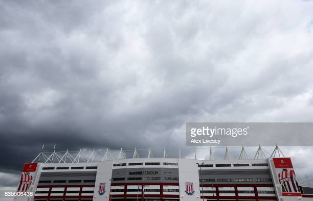 General view outside the stadium prior to the Premier League match between Stoke City and Arsenal at Bet365 Stadium on August 19 2017 in Stoke on...
