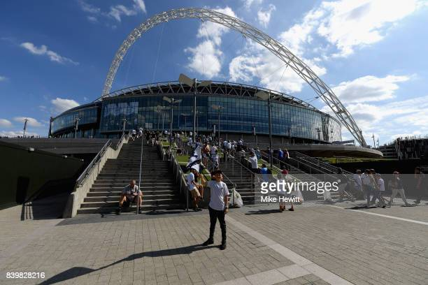 General view outside the stadium prior to the Premier League match between Tottenham Hotspur and Burnley at Wembley Stadium on August 27 2017 in...