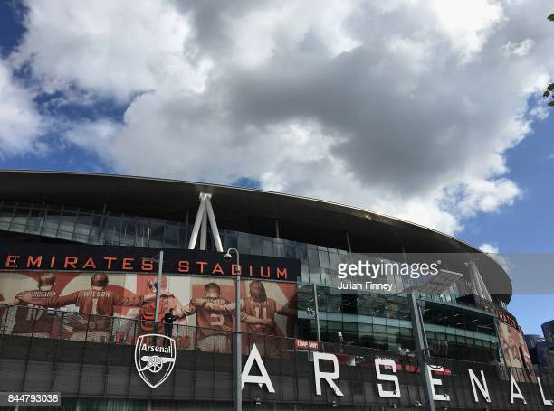 General view outside the stadium prior to the Premier League match between Arsenal and AFC Bournemouth at Emirates Stadium on September 9 2017 in...