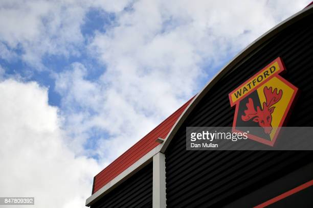 General view outside the stadium prior to the Premier League match between Watford and Manchester City at Vicarage Road on September 16 2017 in...