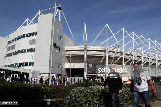 General view outside the stadium prior to the Premier League match between Swansea City and Watford at Liberty Stadium on September 23 2017 in...