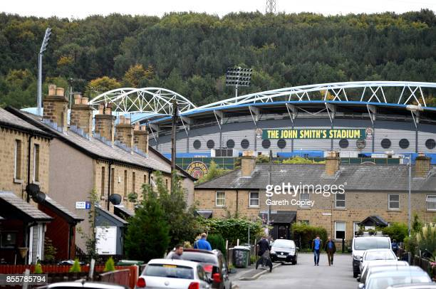 General view outside the stadium prior to the Premier League match between Huddersfield Town and Tottenham Hotspur at John Smith's Stadium on...