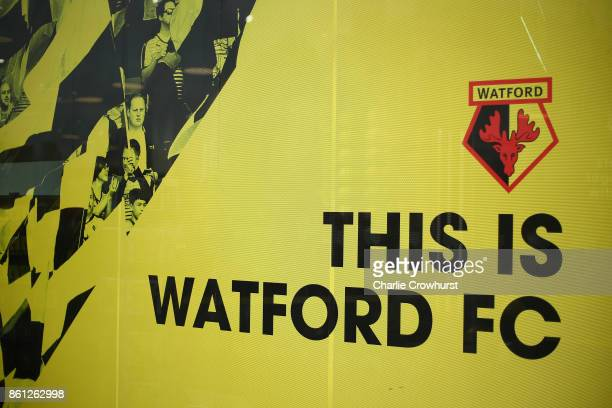 General view outside the stadium prior to the Premier League match between Watford and Arsenal at Vicarage Road on October 14 2017 in Watford England