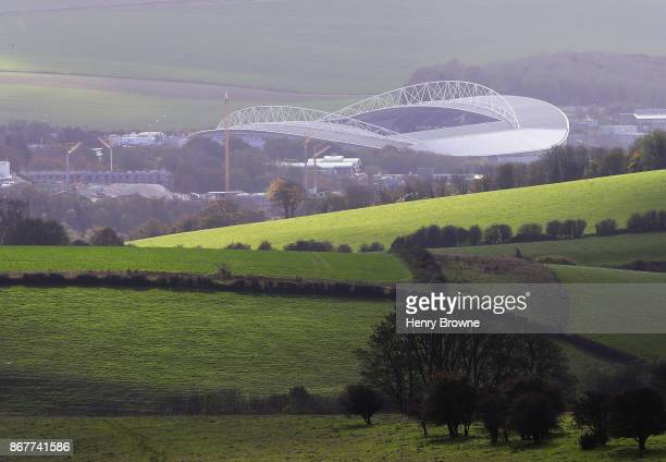 General view outside the stadium prior to the Premier League match between Brighton and Hove Albion and Southampton at Amex Stadium on October 29...