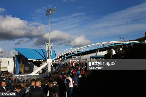 A general view outside the stadium prior to the Premier League match between Huddersfield Town and West Bromwich Albion at John Smith's Stadium on...