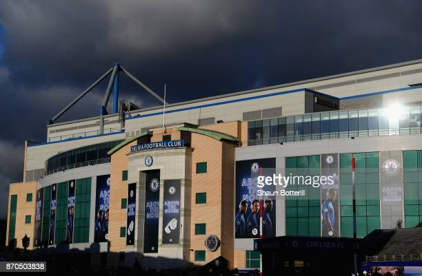 General view outside the stadium prior to the Premier League match between Chelsea and Manchester United at Stamford Bridge on November 5 2017 in...
