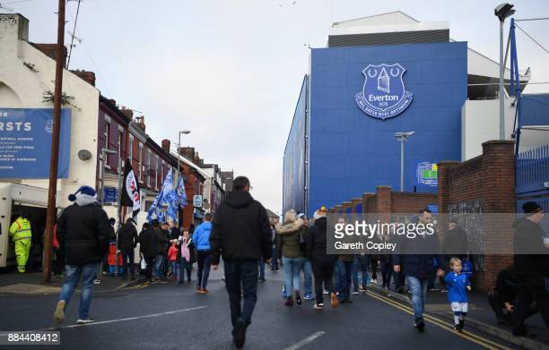 General view outside the stadium prior to the Premier League match between Everton and Huddersfield Town at Goodison Park on December 2 2017 in...