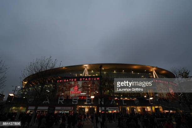 General view outside the stadium prior to the Premier League match between Arsenal and Manchester United at Emirates Stadium on December 2 2017 in...