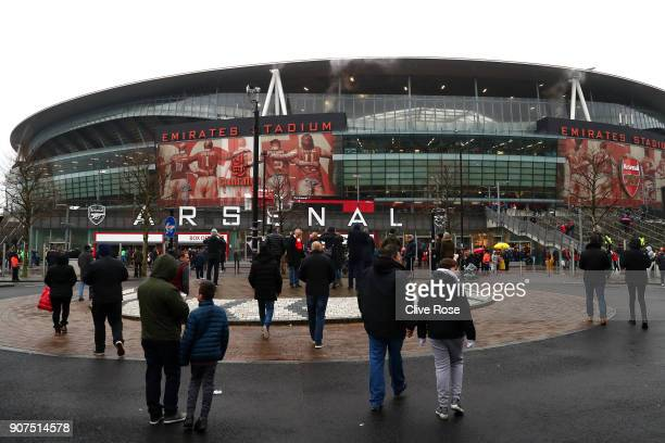 General view outside the stadium prior to the Premier League match between Arsenal and Crystal Palace at Emirates Stadium on January 20 2018 in...