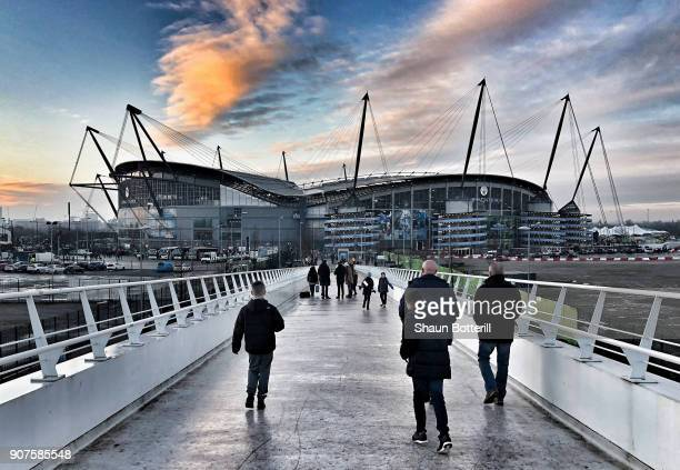 General view outside the stadium prior to the Premier League match between Manchester City and Newcastle United at Etihad Stadium on January 20 2018...