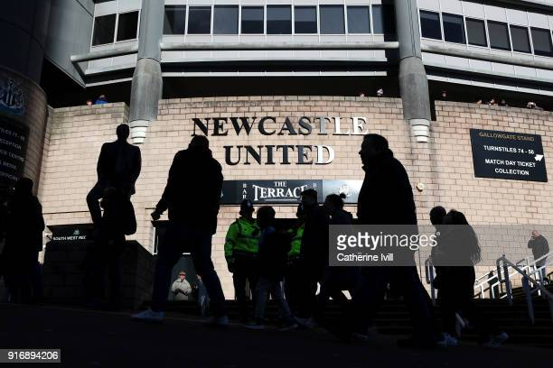 General view outside the stadium prior to the Premier League match between Newcastle United and Manchester United at St. James Park on February 11,...