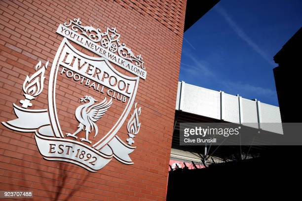 General view outside the stadium prior to the Premier League match between Liverpool and West Ham United at Anfield on February 24 2018 in Liverpool...