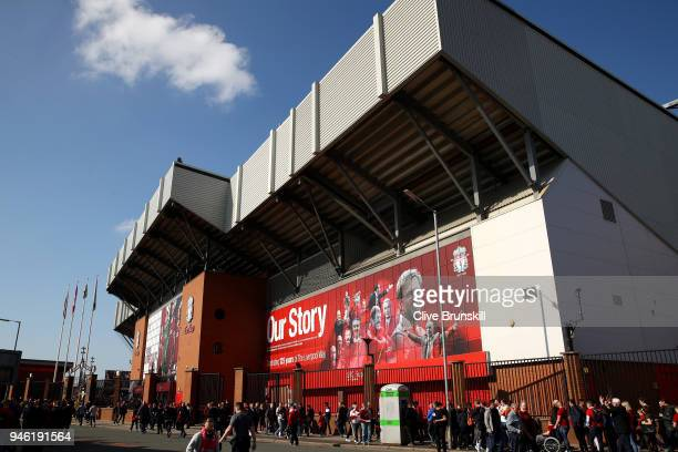 General view outside the stadium prior to the Premier League match between Liverpool and AFC Bournemouth at Anfield on April 14 2018 in Liverpool...