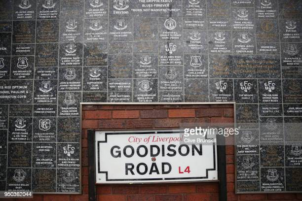 A general view outside the stadium prior to the Premier League match between Everton and Newcastle United at Goodison Park on April 23 2018 in...