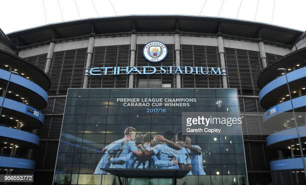 General view outside the stadium prior to the Premier League match between Manchester City and Brighton and Hove Albion at Etihad Stadium on May 9...