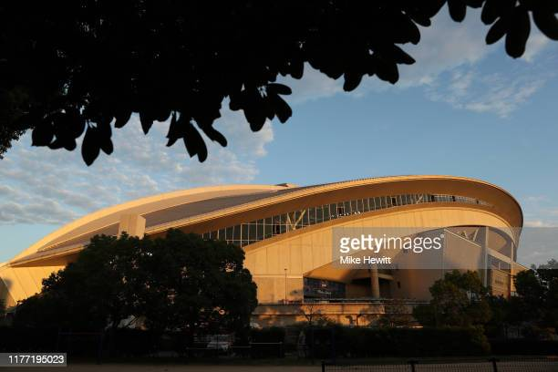 General view outside the stadium prior to the Rugby World Cup 2019 Group C game between England and USA at Kobe Misaki Stadium on September 26, 2019...